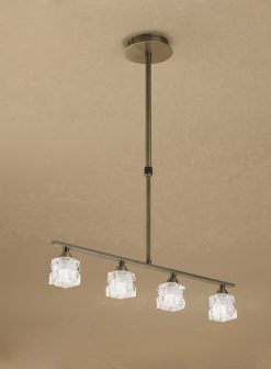 Mantra M1867- Ice AB 4lt Bar Pendant, Antique Brass