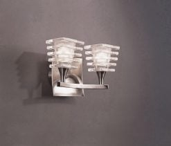 Mantra M0029/S- Keops 2lt Wall Light, Satin Nickel