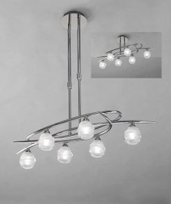 Mantra M1801- Loop 6lt Bar Pendant, Polished Chrome