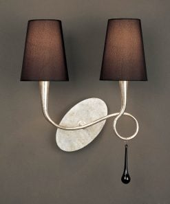 Mantra M0537/S- Paola 2lt Wall Light, Silver Painted