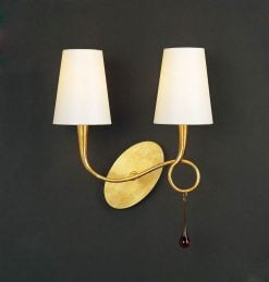 Mantra M0547/S- Paola 2lt Wall Light, Gold Painted