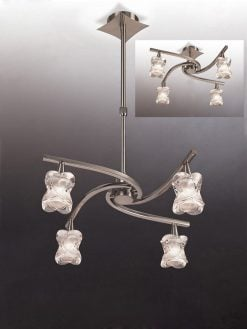 Mantra M0034- Rosa 4lt Multi Arm Pendant, Satin Nickel