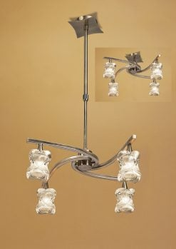 Mantra M0034AB- Rosa AB 4lt Multi Arm Pendant, Antique Brass
