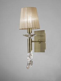 Mantra M3884/S- Tiffany AB 1lt Wall Light, Antique Brass