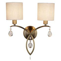 Searchlight 1602-2AB- Alberto 2lt Wall Light, Antique Brass
