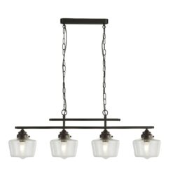 Searchlight 8084-4BK- School House 4lt Multi Arm Pendant, Gold