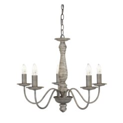 Searchlight 9235-5GY- Sycamore 5lt Multi Arm Pendant, Chrome Brushed