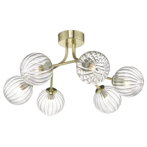 Dar YIS6435- Yiska 6lt Semi Flush, Gold, Glass