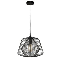 Searchlight 0211BK- Bell Cage 1lt Single Pendant, Black