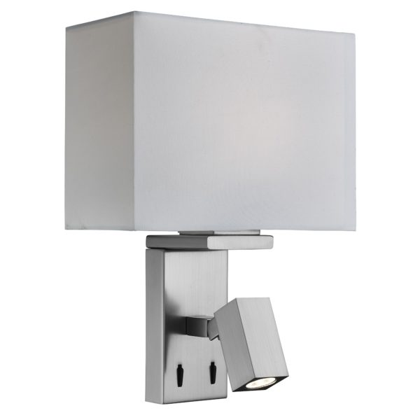 Searchlight 0882SS- Wall 2lt Wall Light, Satin Silver