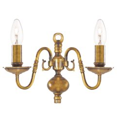 Searchlight 1019-2AB- Flemish 2lt Wall Light, Antique Brass