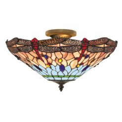 Searchlight 1289-16- Dragonfly 3lt Semi Flush, Antique Brass