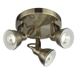 Searchlight 1543AB- Focus 3lt Flush, Antique Brass