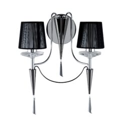 Searchlight 2082-2CC- Duchess 2lt Wall Light, Chrome & Black Chrome
