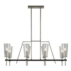 Searchlight 2138-8SS- Danika 8lt Bar Pendant, Satin Silver/Black