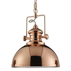 Searchlight 2297CU- Industrial Pendants 1lt Single Pendant, Copper