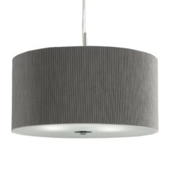 Searchlight 2356-60SI- Drum Pleat 3lt Single Pendant, silver/chrome