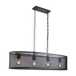 Searchlight 2484-4BK- Fishnet 4lt Bar Pendant, Matt Black