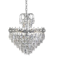 Searchlight 2595-5CC- Catherine 5lt Multi Arm Pendant, Chrome/clear