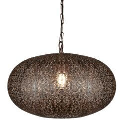 Searchlight 2672CU- Fretwork 1lt Single Pendant, Antique Copper