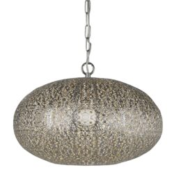 Searchlight 2672SS- Fretwork 1lt Single Pendant, Shiny Nickel/Chrome