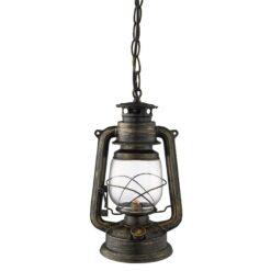 Searchlight 3841-1BG- Lantern 1lt Single Pendant, Black/Gold