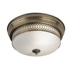 Searchlight 4132-2AB- Edinburgh 2lt Flush, Antique Brass/White