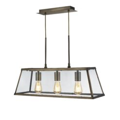 Searchlight 4613-3AB- Voyager 3lt Bar Pendant, Antique Brass/Clear