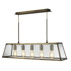 Searchlight 4614-5AB- Voyager 5lt Bar Pendant, Antique Brass/Clear