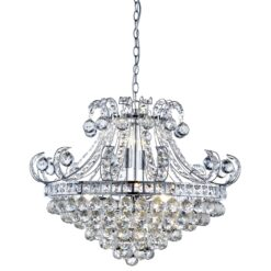 Searchlight 5046-6CC- Bloomsbury 6lt Multi Arm Pendant, Chrome/Clear