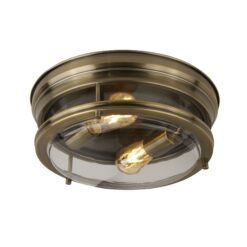Searchlight 5182AB- Edinburgh 2lt Flush, Antique Brass/Clear