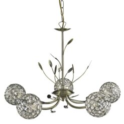 Searchlight 5575-5AB- Bellis II 5lt Multi Arm Pendant, Antique Brass