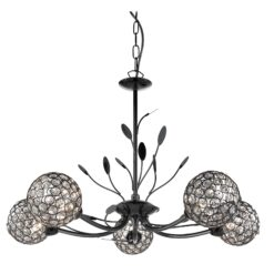 Searchlight 5575-5BC- Bellis II 5lt Multi Arm Pendant, black chrome