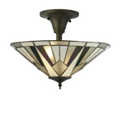 Searchlight 6071-42- Gatsby 3lt Semi Flush, Antique Bronze/black/clear/White/Multi
