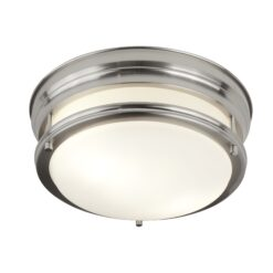 Searchlight 6142-2SS- Edinburgh 2lt Flush, Satin Silver/White