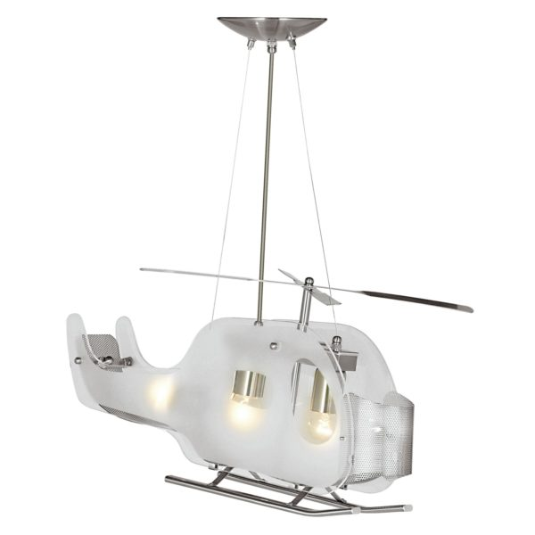 Searchlight 639- Novelty 3lt Semi Flush, Satin Silver