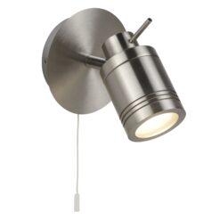 Searchlight 6601SS- Samson 1lt Wall Light, Satin Silver/Chrome/silver