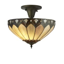 Searchlight 6701-40- Pearl 3lt Flush, Antique Bronze/black/Clear/brown/purple