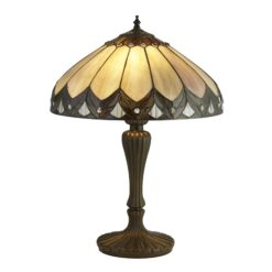 Searchlight 6705-40- Pearl 2lt Table Lamps, Antique Bronze/black/Clear/Brown/purple