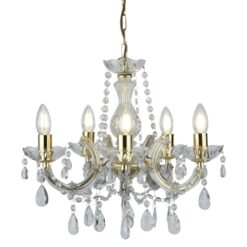 Searchlight 699-5- Marie Therese 5lt Multi Arm Pendant, Gold and clear