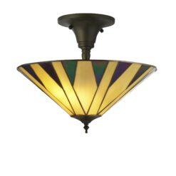 Searchlight 7063-42- Charleston 3lt Single Pendant, Antique Bronze/black/Yellow/Multi