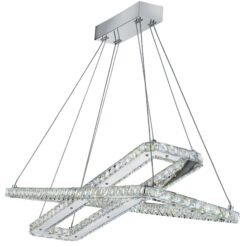 Searchlight 7123CC- Clover 2lt Bar Pendant, Chrome/clear