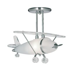 Searchlight 737- Novelty 1lt Semi Flush, Satin Silver