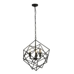 Searchlight 7863-3BK- Cube 3lt Single Pendant, Black
