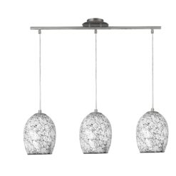 Searchlight 8069-3WH- Crackle 3lt Bar Pendant, Satin Silver