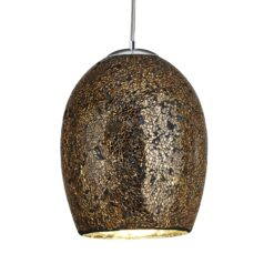 Searchlight 8069BZ- Crackle 1lt Single Pendant, gold/satin silver