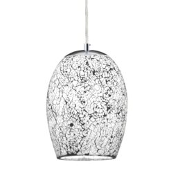 Searchlight 8069WH- Crackle 1lt Single Pendant, Satin Silver