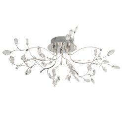 Searchlight 8635-5CC- Willow 5lt Multi Arm Pendant, Chrome /White/Grey/Clear