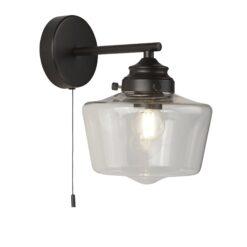 Searchlight 8708-1BK- School House 1lt Wall Light, Matt Black/Clear