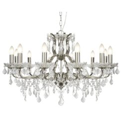 Searchlight 87312-12SS- Paris 12lt Multi Arm Pendant, Satin Silver/Clear